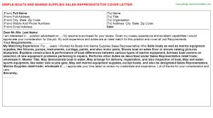 boats and marine supplies sales representative cover letter