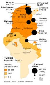 map of tunisia with cities population of tunisia