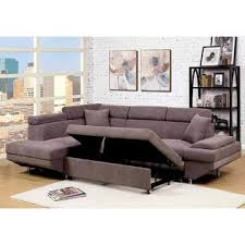 Living Room Furniture Made In The Usa Furniture Of America Sectional Sofa W Pull Out Bed Sleeper Brown