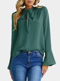 green chiffon blouse green self tie design bell sleeves chiffon blouse us 21 95 yoins