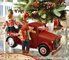 Target Wreaths Home Decor Red Christmas Truck And Station Wagon With Lit Tree And Wreath For