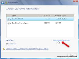 windows 7 installation drive selection doesn u0027t show drive letter