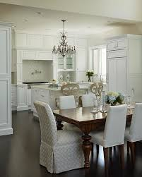 Cherry Stained Dining Table With Ivory Upholstered Dining Chairs - Upholstered chairs for dining room