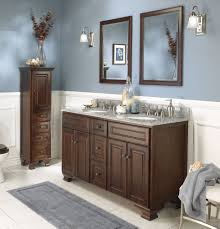 walnut wooden double sink bathroom vanity ideas with multi drawer