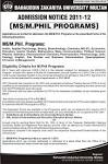 Admissions open MS/M.Phil Programs BZU 2012 - BZU Multan bzupages.com