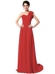 red one shoulder flower trim maxi chiffon bridesmaid dress shein