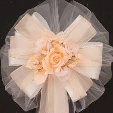 Wedding Pew Bows Peach Rose Organza Floral Wedding Pew Bows Package Perfect Bows