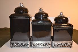 gg collection 3 ceramic canister set metal bases finials black