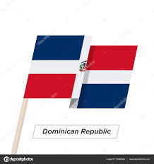 Dominican Republic Flag Dominican Republic Ribbon Waving Flag Isolated On White Vector