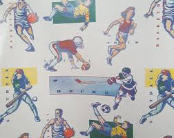 sports wrapping paper vintage wrapping paper roll etsy