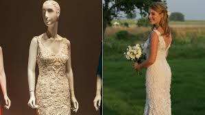 bush wedding dress bush hager s wedding gown on display at oscar de la renta