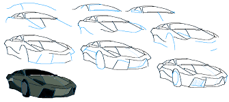 step by step how to draw a lamborghini poster