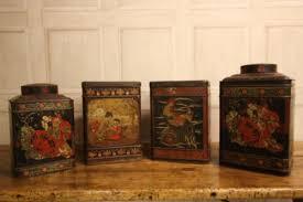 Set Four Decorative English Antique Tea Tins