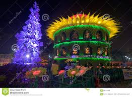 Decoration Of Durga Puja Pandal Durga Puja Pandal Decorated Temporary Temple Kolkata At Night