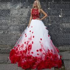 aliexpress com buy 3d flower bohemia white red lace prom dresses