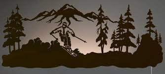 lighted pictures wall decor 42 skier led back lit lighted metal wall art wall decor throughout