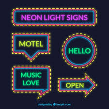 assortment of neon lights signs with yellow details vector free