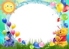 winnie pooh balloons kids transparent frame cute frames