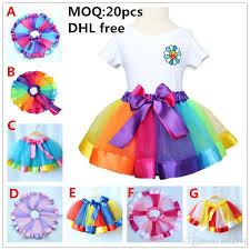 ribbon tutu 2017 dhl free new style ribbon tutu skirt baby rainbow tutus