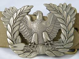 brass eagle rising warrant officer branch insignia belt buckle