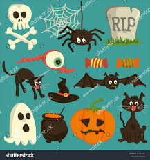 Halloween Icons For Facebook Set Vector Halloween Cartoon Icons Stock Vector 320144048