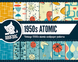 Mid Century Patterns by Atomic Digital Paper 1950s Atomic Pattern Digital Paper