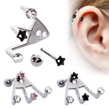 where to buy cartilage earrings surgical steel ear cartilage lobe earring trident cz 18g