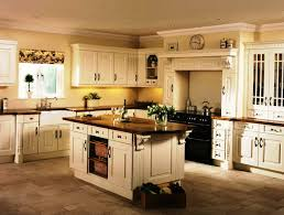 Classic White Kitchen Cabinets Long Cream Kitchen Cabinets And Classic White Island In Spacious