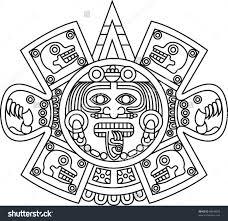 aztec sun god drawing clipartxtras