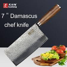 sunlong 7 inch chef knives damascus steel kitchen knife cleaver