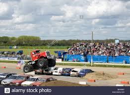 monsters truck show monster truck show at the santa pod raceway england stock photo