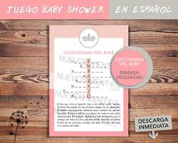 baby shower spanish crossword puzzle spanish princess