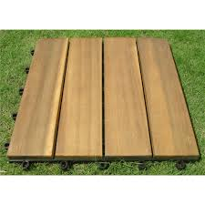 Patio Interlocking Tiles by Vifah 4 Slat Design Plantation Teak Interlocking Wood Deck