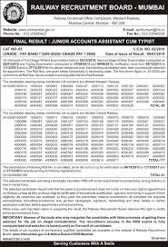 rrb mumbai final result of junior account assistant typist