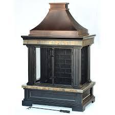 shop garden treasures bronze steel outdoor wood burning fireplace