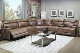 Sectional Living Room Sets by La Crosse Leather Seating Power Reclining Sectional Mor