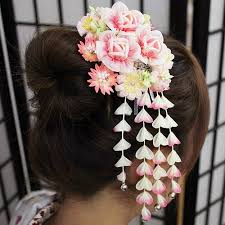 japanese hair ornaments cdjapan kanzashi japanese hair stick with petals pink