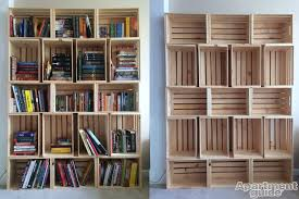 bookshelves with storage storage made simple diy wooden crate bookshelf apartmentguide com