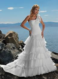 romantic one shoulder wedding gown design for modern brides