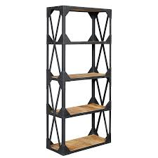 industrial bookcase wood and metal doherty house casual and