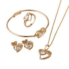 jewellery ring necklace images Gold color kids jewelry sets strawberry pendant necklace bangle jpg