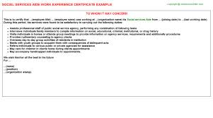 social services aide work experience certificate