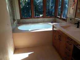 Vanity Tub Tan Concrete Bath Tub Surround With Vanity Top