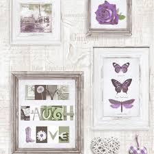 Kitchen Wallpaper Ideas Uk Muriva Live Laugh Love Frames Wallpaper Purple Cream 131504