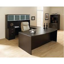 U Shaped Desks With Hutch Espresso Bow Front U Shaped Desk With Hutch