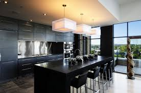 modern bright kitchen style with light and white chairs kitchen