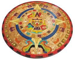 Aztec Home Decor by Mexican Aztec Calendar U0027colored Wood U0027 Terra Artesana