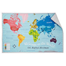 Personalized World Map by Custom Welcome To The World Quilt Baby Blanket Cotton