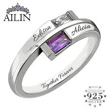 name rings silver images Double baguette bypass ring silver birthstone engraved name ring jpg