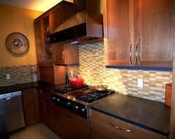 Kitchen Unforeseen Wooden Cabinets With Brown Subway Glass Tile - Brown subway tile backsplash